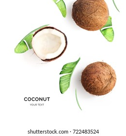 Creative layout made of coconut on the watercolor background. Flat lay. Food concept.
