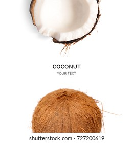 Creative layout made of coconut on the white background. Flat lay. Food concept. Macro  concept.