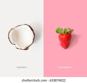Creative layout made of coconuts and strawberry. Flat lay. Food concept.