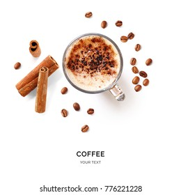 Creative layout made of coffee, coffee beans and cinnamon. Flat lay. Food concept. Macro  concept.