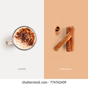 Creative layout made of coffee and cinnamon. Flat lay. Food concept. Macro  concept.