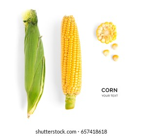 Creative layout made of corn. Flat lay. Food concept.
