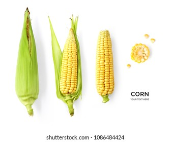 Creative layout made of corn on the white background. Flat lay. Food concept. Vegetables isolated on white background.