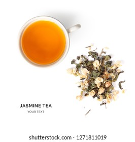 Creative layout made of cup of jasmine tea on a white background. Top view.
