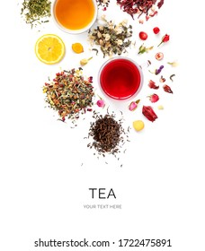 Creative layout made of cups of tea, green tea, black tea, fruit and herbal tea, sencha, hibiscus, ginger on white background.Flat lay. Food concept.