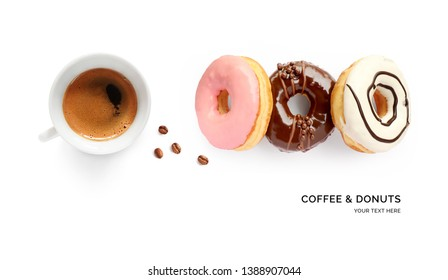 Creative layout made of donuts and coffee on white background. Flat lay. Food concept. Macro  concept.