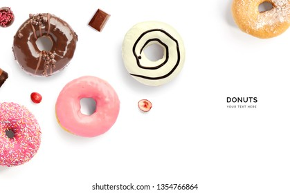 Creative layout made of donuts. Flat lay. Food concept. Macro  concept.