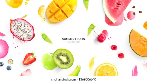 Creative layout made of dragonfruit, melon, watermelon, cherry, kiwi, strawberry, mango on the watercolor background. Flat lay. Food concept.