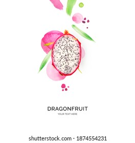 Creative layout made of dragonfruit with watercolor spots on the white background. Flat lay. Food concept.
