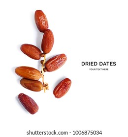 Creative layout made of dried date. Flat lay. Food concept.
