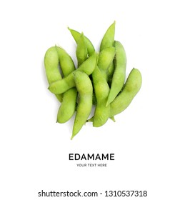 Creative layout made of edamame. Food abstract background. Edamame on the white background.