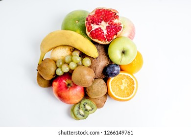 Creative layout made of fruits on a white background