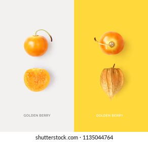 Creative layout made of golden berry. Flat lay. Food concept.