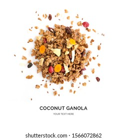 Creative layout made of granola with dry fruits and curcuma isolated on white background.Flat lay. Food concept.