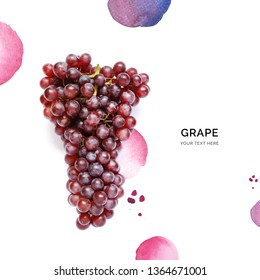 Creative layout made of grape on the watercolor background. Flat lay. Food concept.