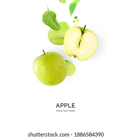 Creative layout made of green apple with watercolor spots on the white background. Flat lay. Food concept. - Shutterstock ID 1886584390