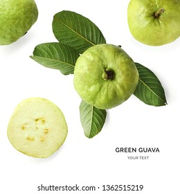 Creative layout made of green guava on the white background. Flat lay. Food concept.