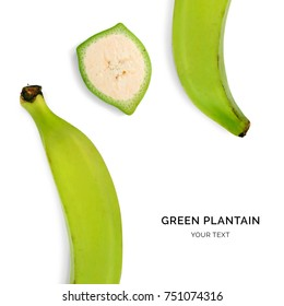 Creative layout made of green plantain on the white background. Flat lay. Food concept. Macro  concept.