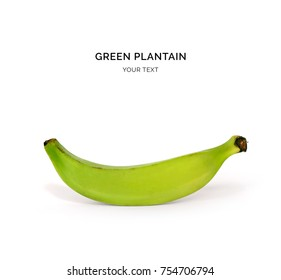 Creative layout made of green plantain on the white background. Food concept. Macro  concept.