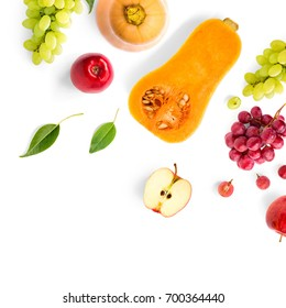 Creative layout made of green and red grape, Fruits and vegetable on the white background.