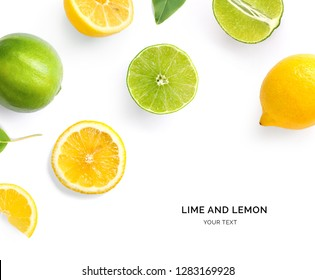 Creative layout made of lemon, lime and leaves. Flat lay. Food concept. Lemon and lime on white background.