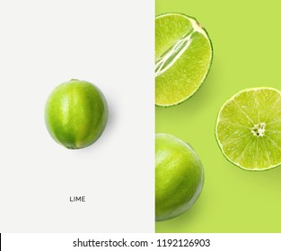 Creative layout made of lime. Flat lay. Food concept. Macro concept.
