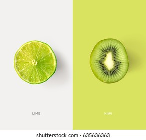 Creative layout made of lime and kiwi. Flat lay. Food concept.