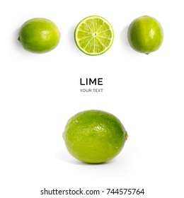 Creative layout made of lime on the white background. Flat lay. Food concept. Macro  concept.