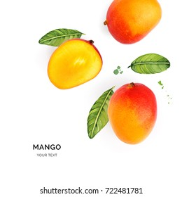Creative layout made of mango on the watercolor background. Flat lay. Food concept.