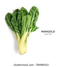 Creative layout made of mangold. Flat lay. Food concept. Mangold on the white background.