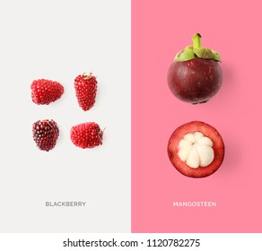 Creative layout made of mangosteen and blackberry. Flat lay. Food concept. Macro  concept.