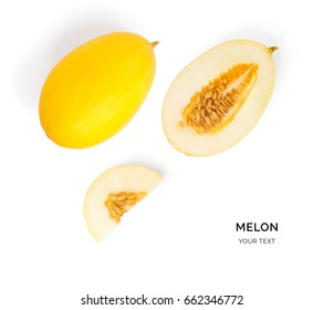 Creative layout made of melon. Flat lay. Food concept. Melon on the yellow background.