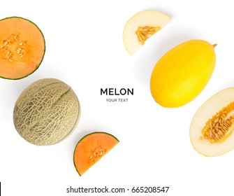 Creative layout made of melon. Flat lay. Food concept. Melon on the white background.