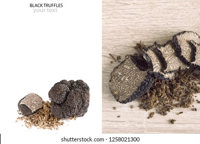 Creative layout made of mushroom truffles isolated on white background with space for your text.Top view