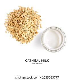 Creative layout made of oatmeal milk on white background. Flat lay. Food concept.