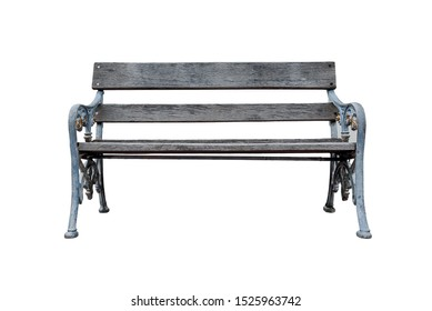 Creative layout made of old brown wooden bench isolated on a white background. Object concept. Miscellaneous concept. Horizon concept. Art concept. Close up with copy space.