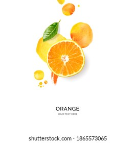Creative layout made of orange with watercolor spots on the white background. Flat lay. Food concept. - Shutterstock ID 1865573065