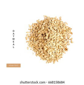 Creative layout made of organic oatmeal isolated on white background.Flat lay. Food concept.
