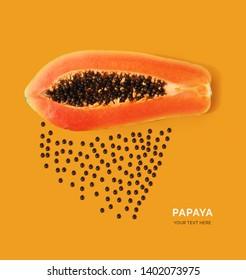 Creative layout made of papaya. Flat lay. Food concept. Papaya on the orange background.