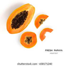 Creative layout made of papaya fruit.  Flat lay. Food concept.