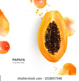 Creative layout made of papaya on the watercolor background.. Flat lay. Food concept