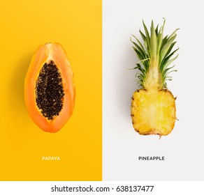 Creative layout made of papaya and pineapple. Flat lay. Food concept.