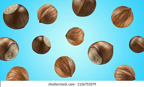 Creative layout made pattern hazelnut Flat lay isolated blue background. Macro concept. Mockup hazelnuts as package design element. Full depth of field.