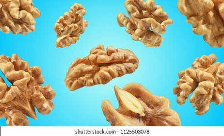 Creative layout made pattern walnuts isolated pink background. Macro concept. Mockup walnut  as package design element. Full depth of field.