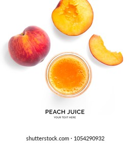 Creative layout made of peach juice. Flat lay. Food concept. Smoothie on the white background.