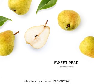 Creative layout made of pear on the white background. Food concept. Macro concept.