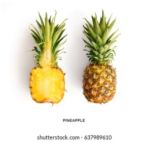 Creative layout made of pineapple. Flat lay. Food concept.