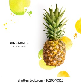 Creative layout made of pineapple on the watercolor background. Flat lay. Food concept.