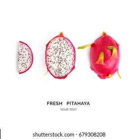 Creative layout made of pitahaya (dragonfruit). Flat lay. Food concept.  Pitahaya (dragonfruit)  on white background.