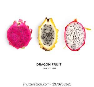 Creative layout made of pitaya (dragonfruit). Flat lay. Food concept.  Pitaya (dragonfruit)  on white background.